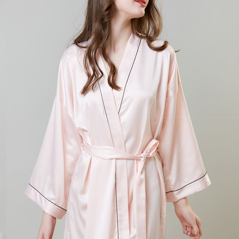 2-piece silk lace solid color robe