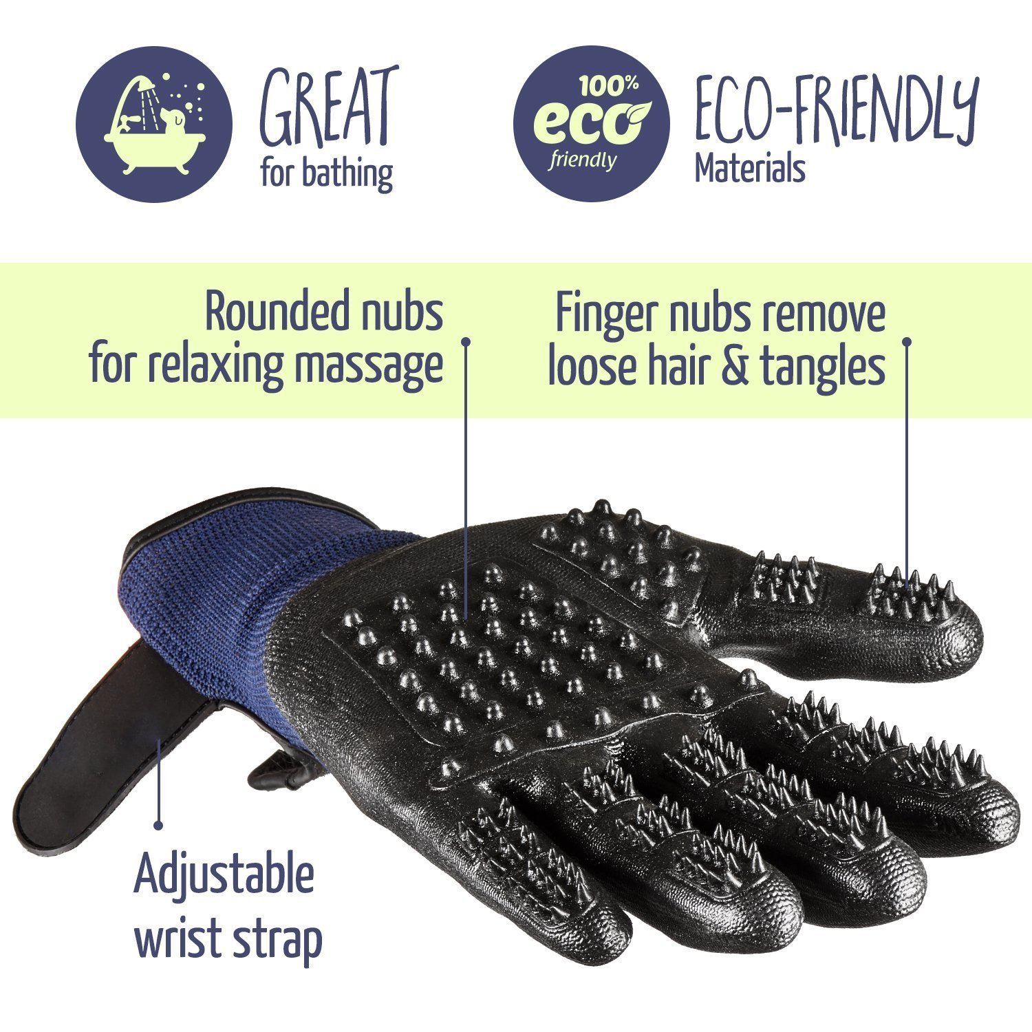 Pet Grooming Gloves - Enhanced Five Finger Design - for Cats, Dogs & Horses