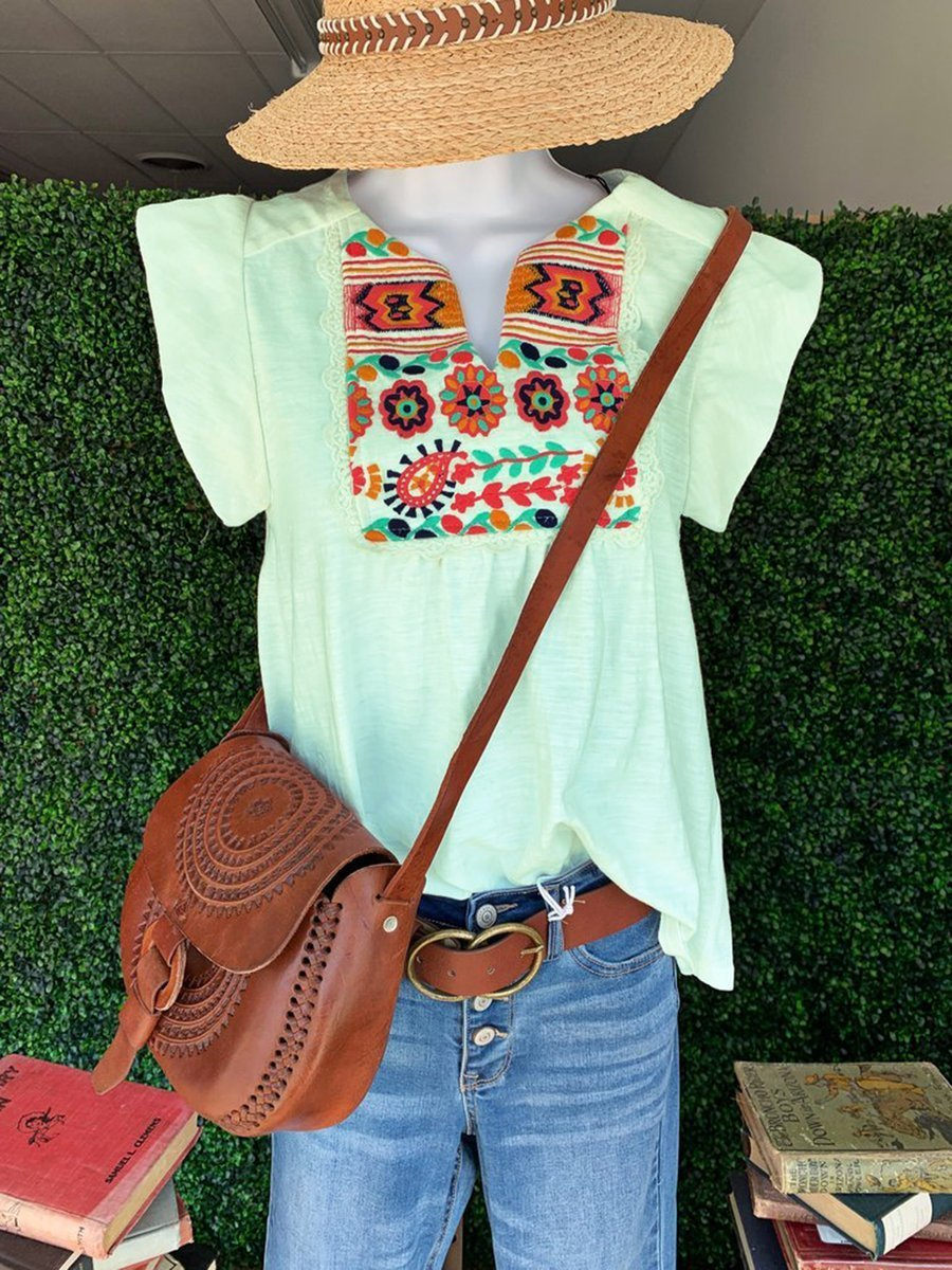 Short Sleeve Casual V Neck Blouse