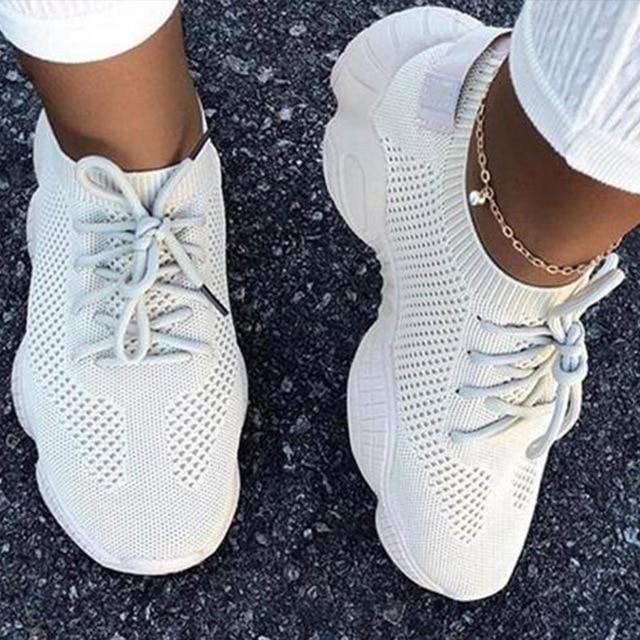 Women's fashion lightweight running shoes mesh breathable candy color sneakers