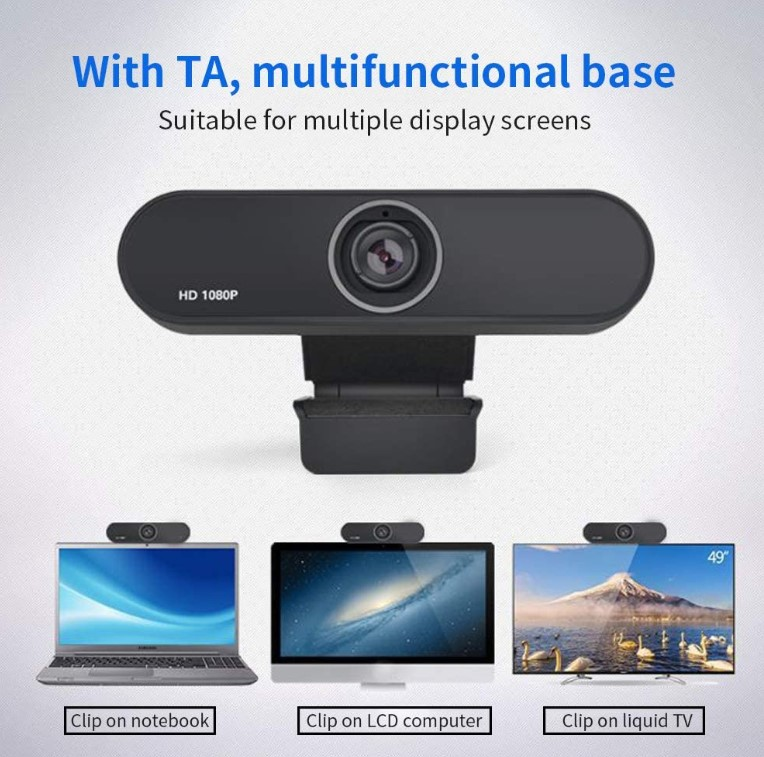 1080p/30fps HD Webcam, PC USB Video Web Camera Cam Live Streaming Webcam With Microphone
