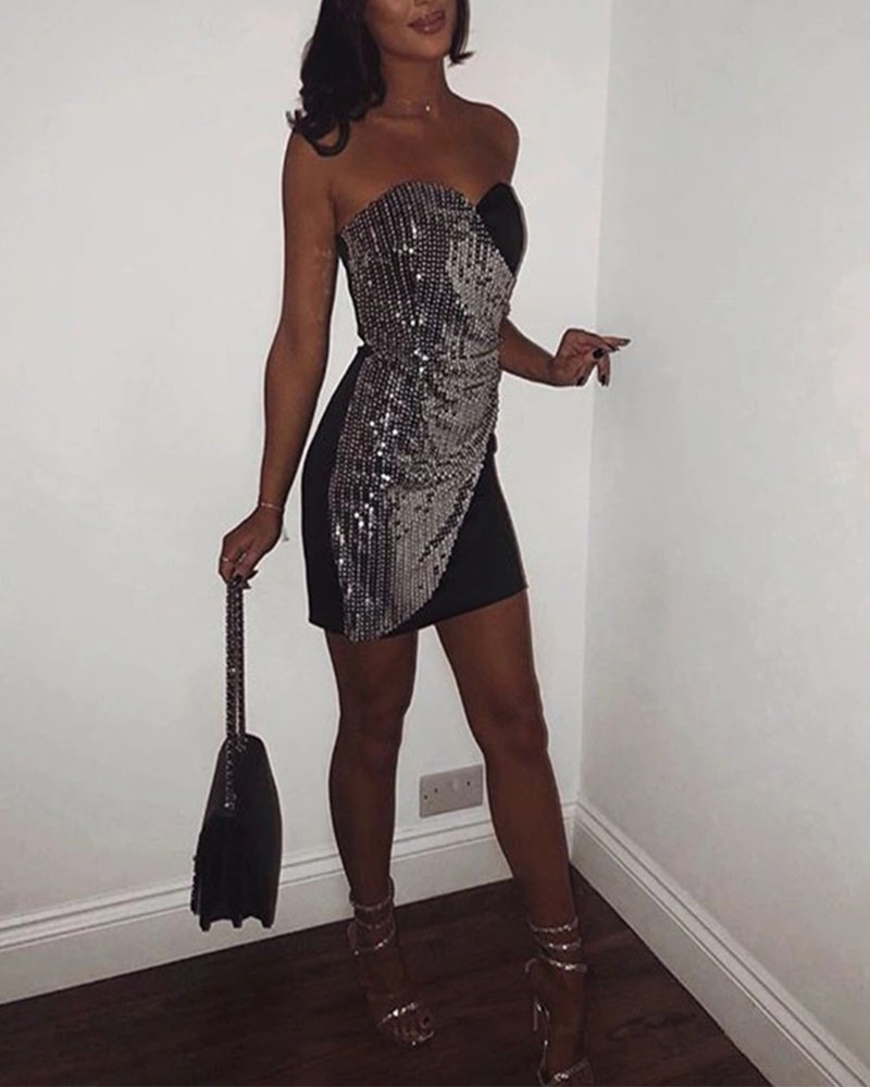 Sequin Nightclub Mini Evening Dress
