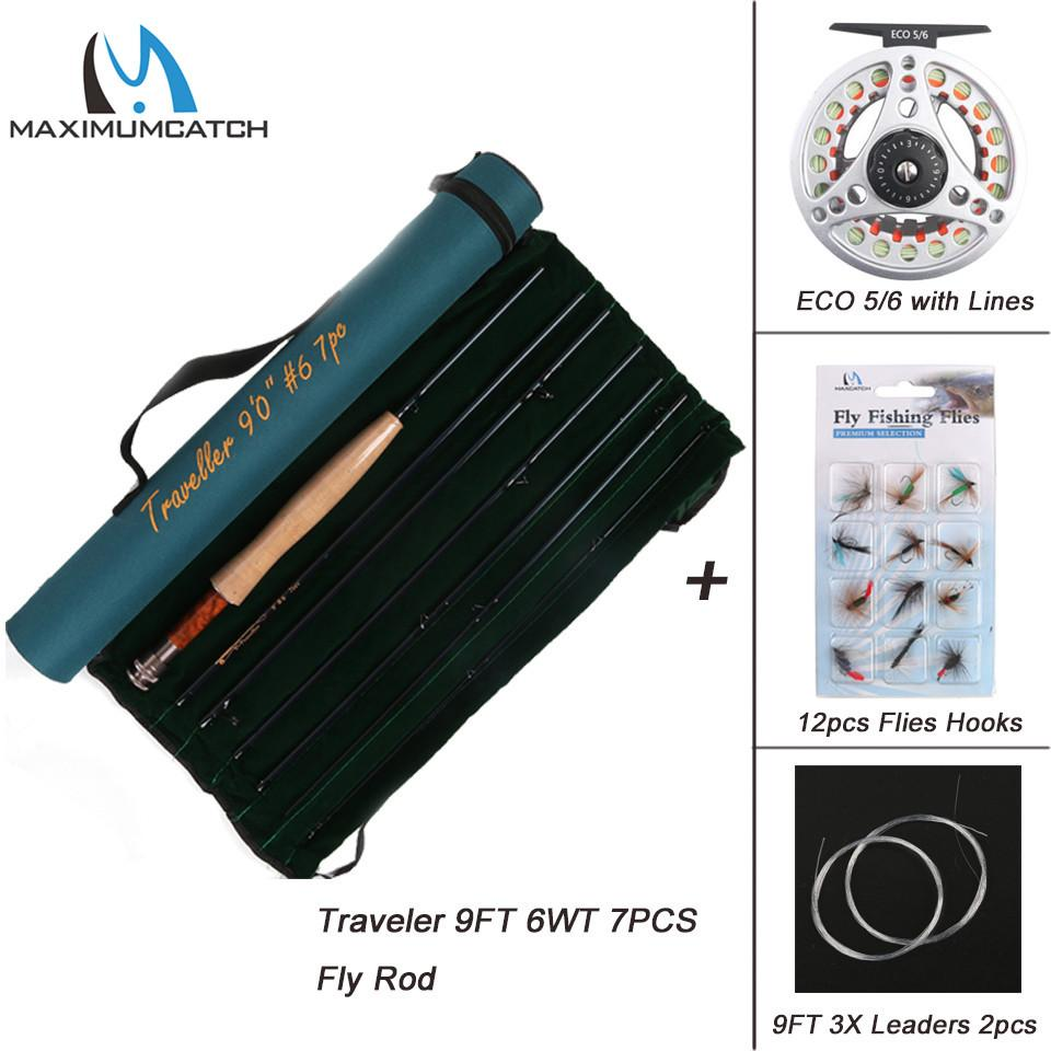 Maximumcatch Traveler 9FT 7pcs 5/6/7/8wt Carbon Fiber Fly Rod Fast Action Fly Fishing Rod with ECO Fly Reel with Line Combo
