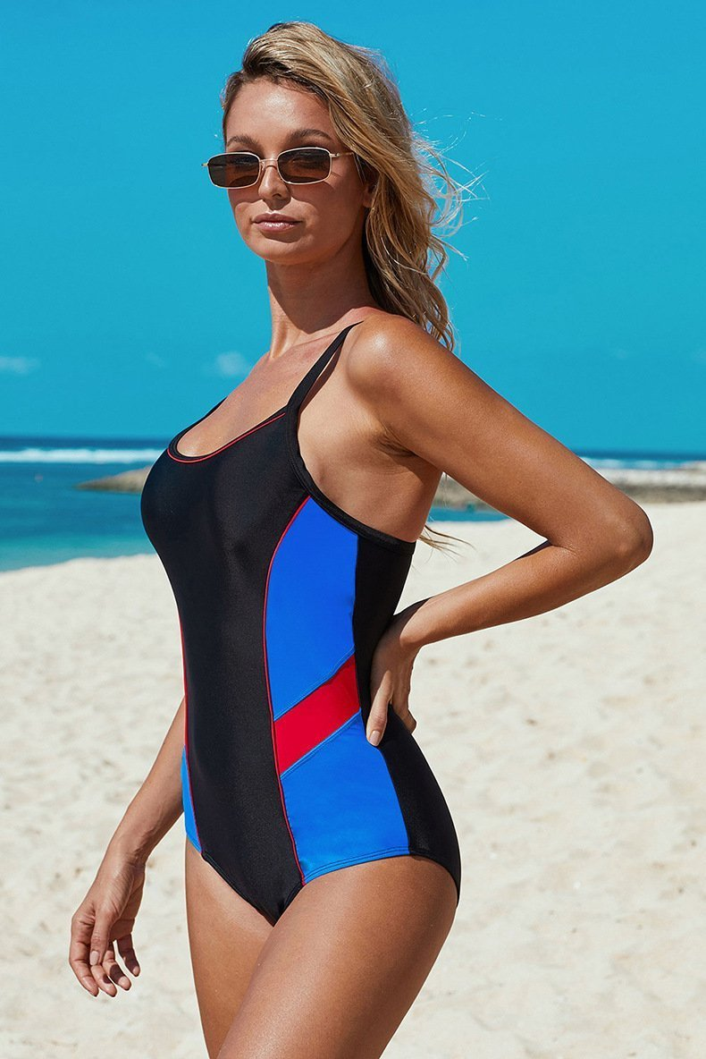 Triangle Bathing Suits Color Block Cover Belly One Piece Swimsuit