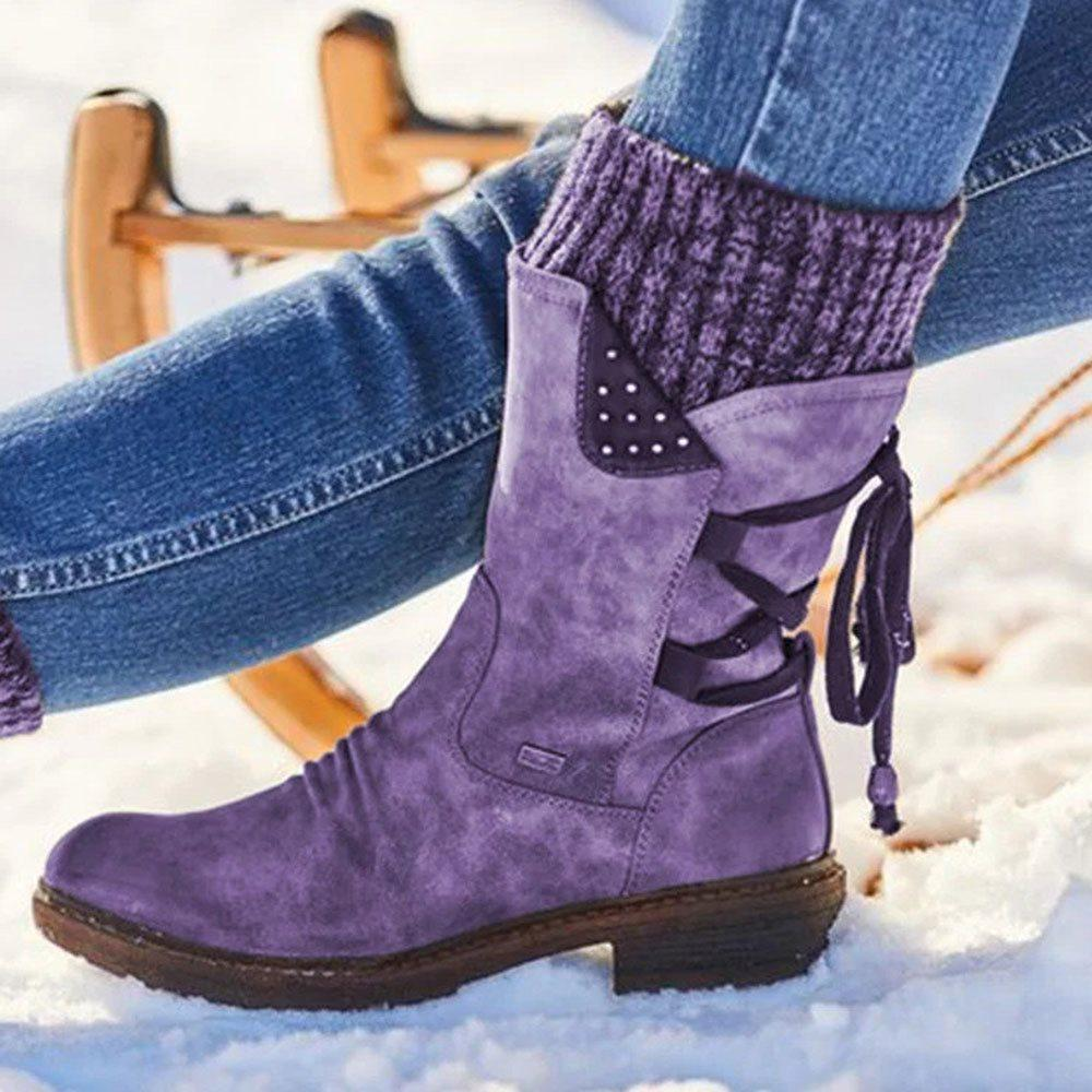 Warm Suede Boots With Lace Up