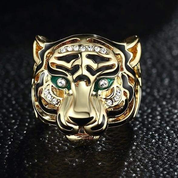 1Men's Antiqued Gold Ion-Plated Stainless Steel Tribal Lion Ring Size 6-10