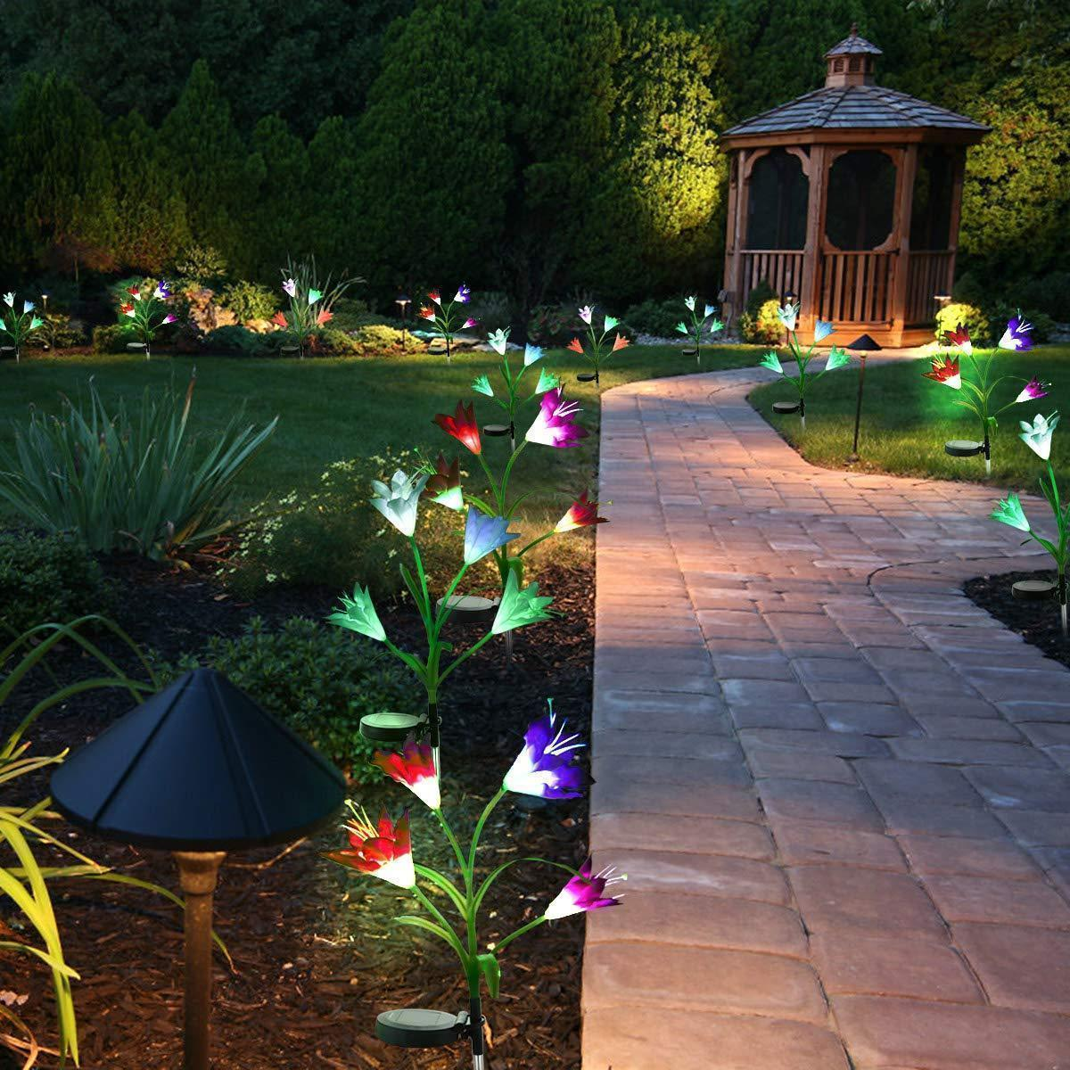 【50% Off Today Only】Spring Artificial Lily Solar Garden Stake Lights(1 Pack of 4 Lilies)