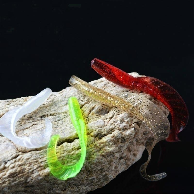 10/20pcs Single Tail Soft Worm Fishing Lures 5 Colors 6cm 1.8g Capuchin maggot Leaves Bait Soft Lure Fishing Tackle