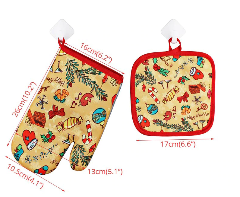 2 pieces/set of Christmas hot oven gloves heat-proof hand set