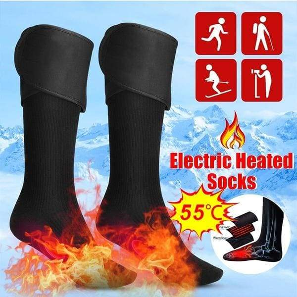 Electric Charging Battery Heated Cotton Socks Electric Socks Feet Thermal Winter Warmer Heater Foot Shoe Boot for Cycling Skiing Warmer Feet Unisex Motorcycle Accessories Electric Heating Socks(Battery Not Included)