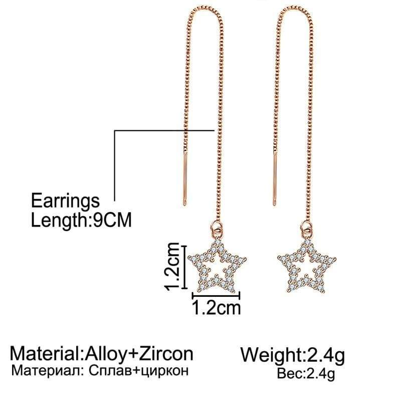 3styls Exquisite 14K Rose Gold Heart Crystal Long Chain Earrings Dainty Star Round Full Rhinestone Tassel Dangle Threader Earring for Women Engagement Wedding Statement Jewelry Gifts