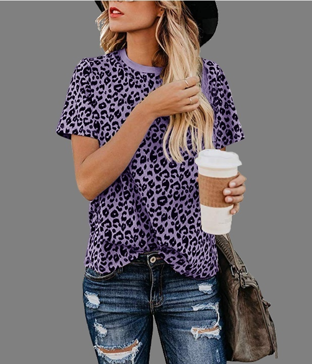 Plus Size S-5XL Women Summer Fashion Casual Leopard Printed Round Neck T-Shirts Women New Cool Loose Short Sleeve Sexy Tops Summer Lady Girl Blosue Tee Grey Wine Red Blue Purple Khaki 5 Colors