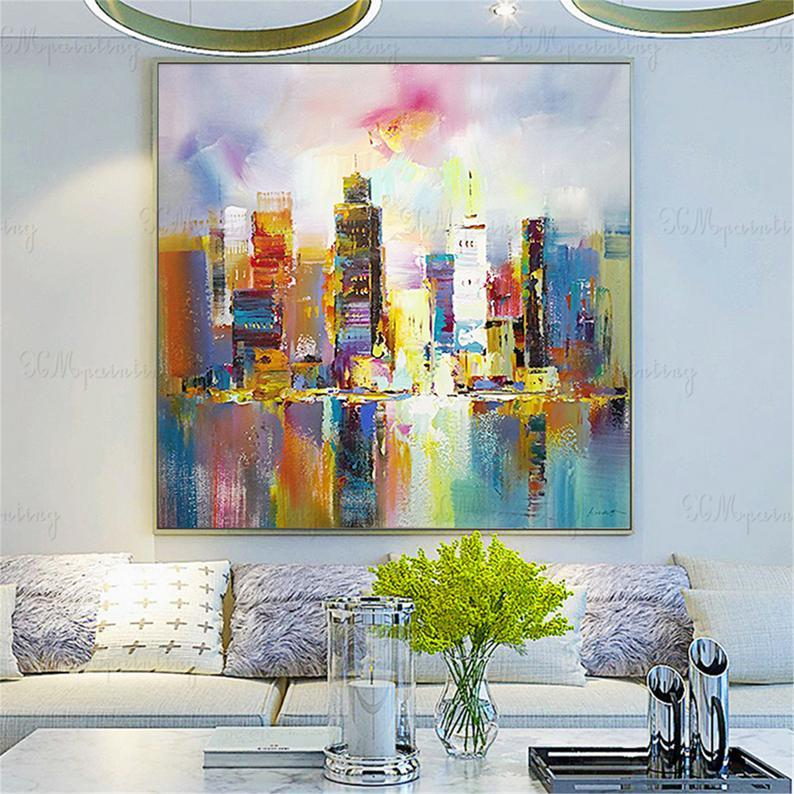 Hong Kong city landscape gold art abstract paintings on canvas wall art pictures for living room home decor original acrylic thick textured