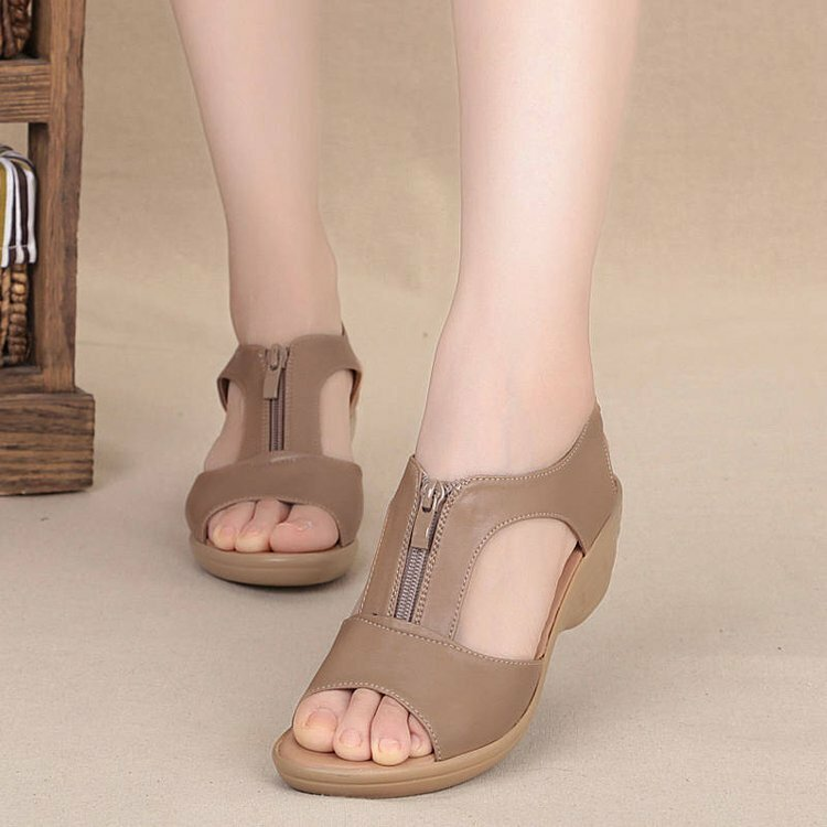 PU Leather with Slope Heel Sandals