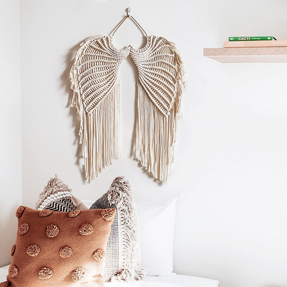 Nordic hand-woven angel wings tapestry