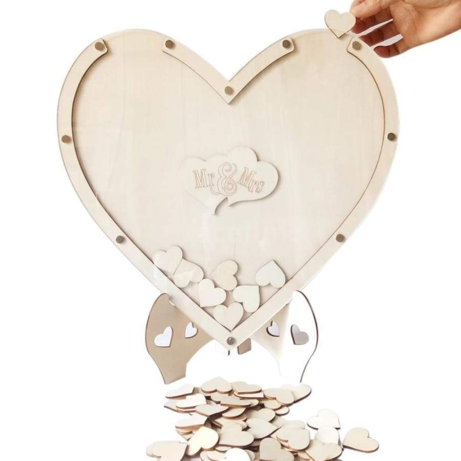Delicate Wooden Wedding Guest Book Unique Rustic Wedding Decoration Heart Shaped Wedding Guest Book (2 Types)