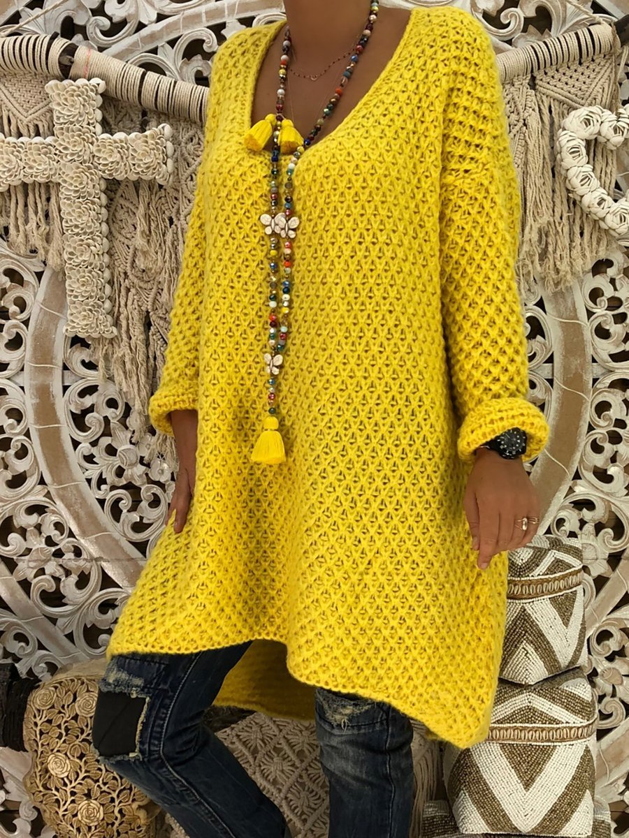 Yellow Plus Size V neck Swing Solid Fall Sweater Dress