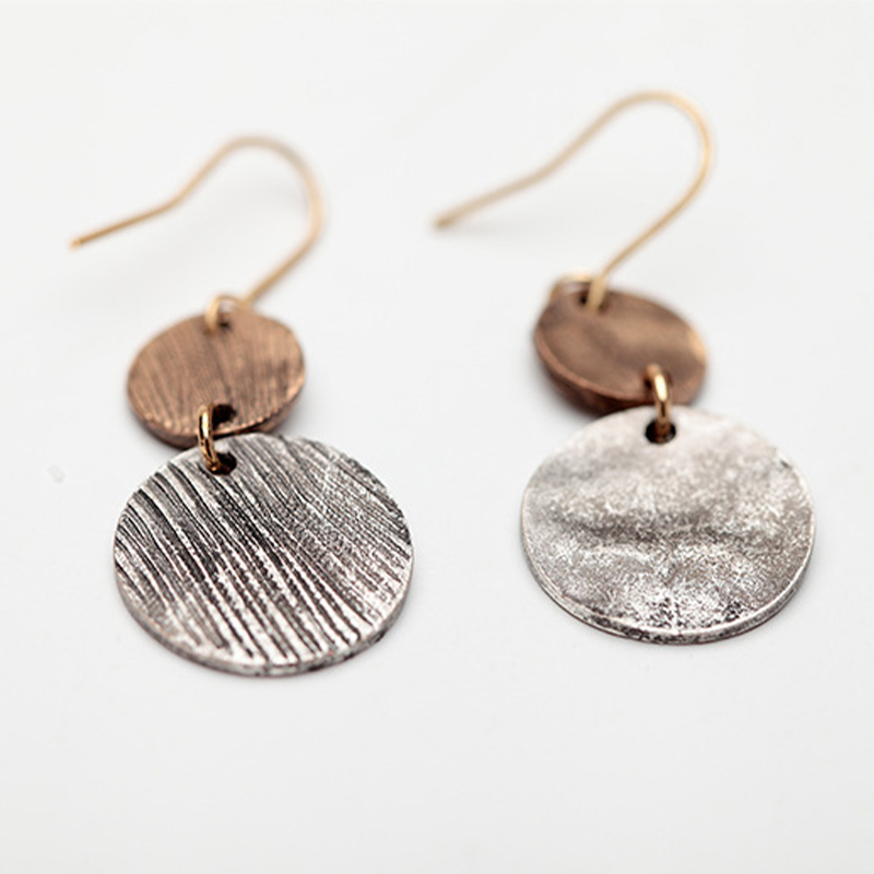Ring Stitching Two-Tone Earrings
