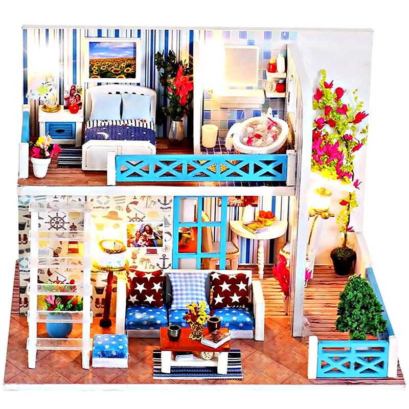DIY Dollhouse Wooden Furniture Kit, Handmade Mini Home of Helen Model with Dust Cover
