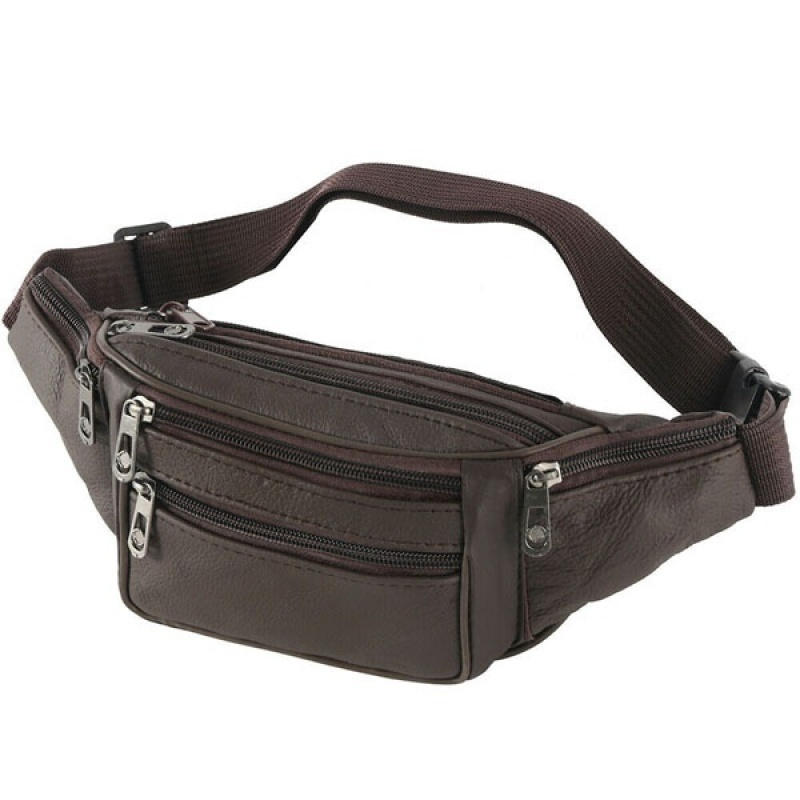 2 Types Mens Leather/Canvas Waist Bag Multi-Pockets Storage Fanny Pack Bag