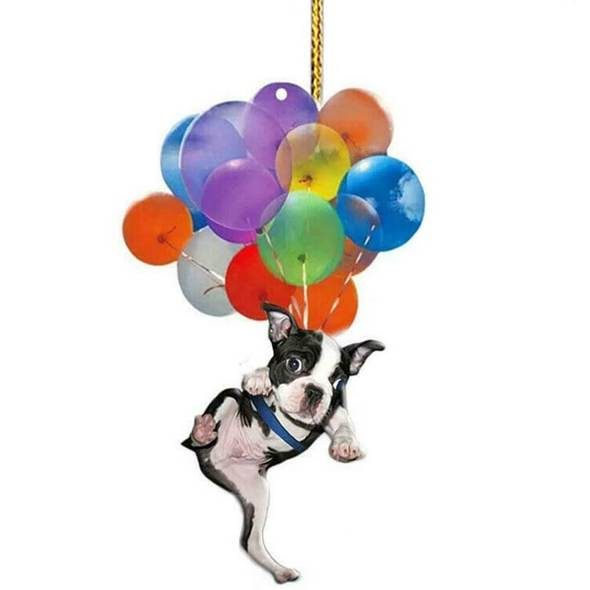 Boston Terrier Dog Fly With Bubbles Car Hanging Ornament