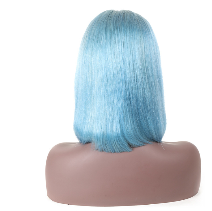 Light blue front lace real hair wig