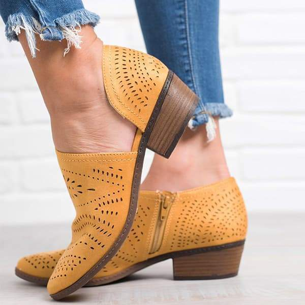 Faddishshoes Hollow Low Heel Cutout Booties
