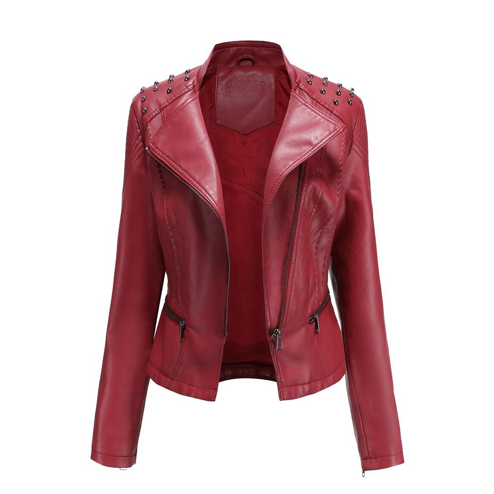 Women's studded biker jacket coat fashion turn-down collar punk jacket