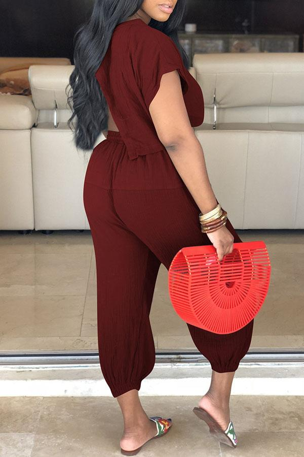 Solid Color Strappy Two-Piece Set
