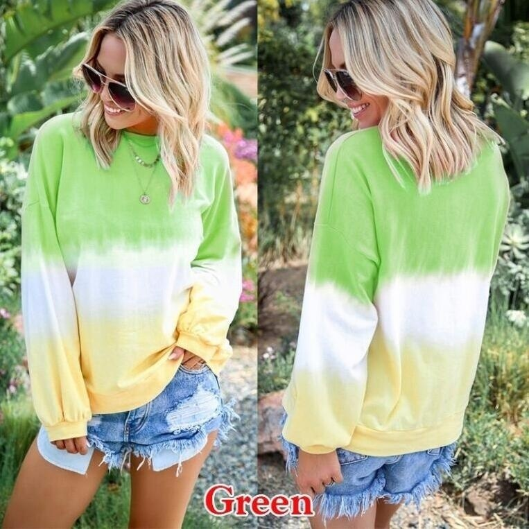 NEW Fashion Loose Long Sleeve Top Casual O-Neck Women Blouse Gradient Color Shirt Plus Size