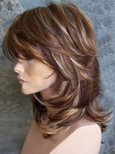 Layered Wavy Mixed Red Synthetic Hair Capless Wigs