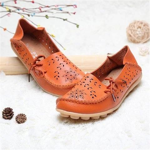 Large Size Breathable Hollow Out Flat Lace Up Soft Leather Shoes