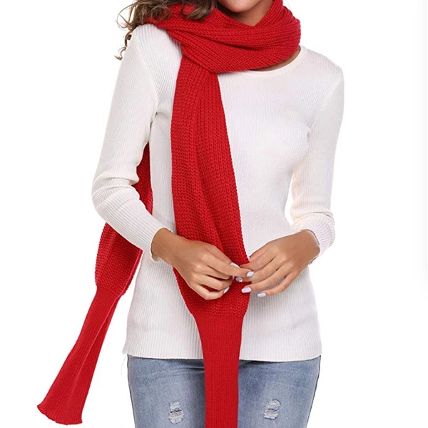 Autumn&Winter Fashion Crochet Knitted Scarf Shawl with Sleeves (Free Shipping)