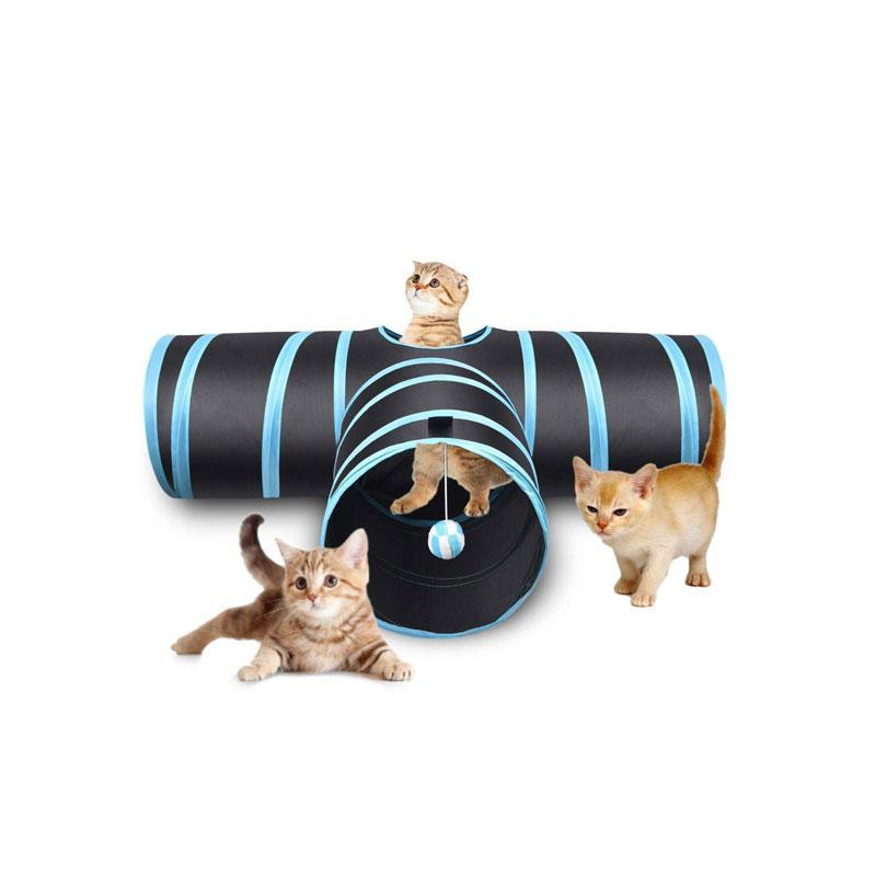 SKRTEN 3 Tunnels Folding Collapsible Interactive Pet Cat Toy with a Hanging Ball