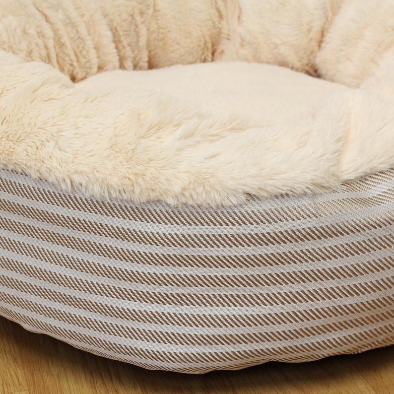 Personalised Cream Beige Brown Stripe with Faux Fur Small Round Donut Nest Pet Cat Dog Bed