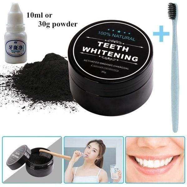 10ml+10pcs Cotton swab or 30g Powder +1 Toothbrush Set Professional Oral Hygiene Teeth Whitening Oral Care Charcoal Powder Natural Activated Charcoal Teeth Whitener Powder Organic Activated Charcoal Bamboo Toothpaste