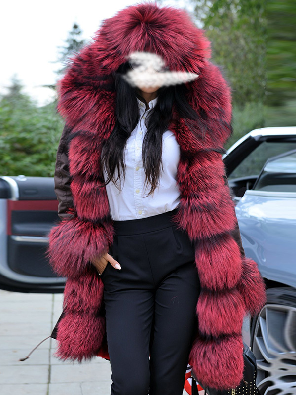 Brown and red fur mid-length coat