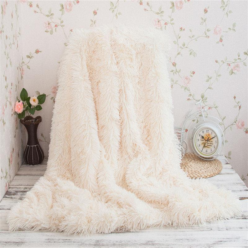 Super weiches langes Shaggy Fuzzy Fur Faux Fur warmes elegantes Cosy With Fluffy Sherpa Throw Blanket