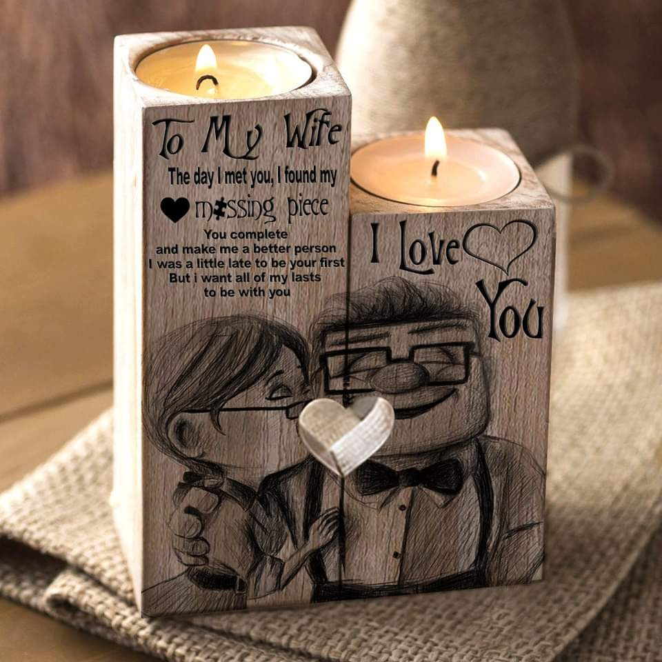 👩❤️💋👨Husband To Wife - My Missing Piece Wooden Candle Holder