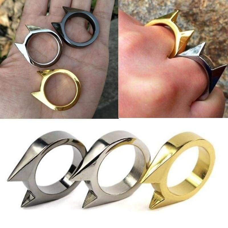 Mini Anti Wolf Self-protection Window Breaker Survival Stainless Steel Cat Ear Ring Mini Tool Self-defense