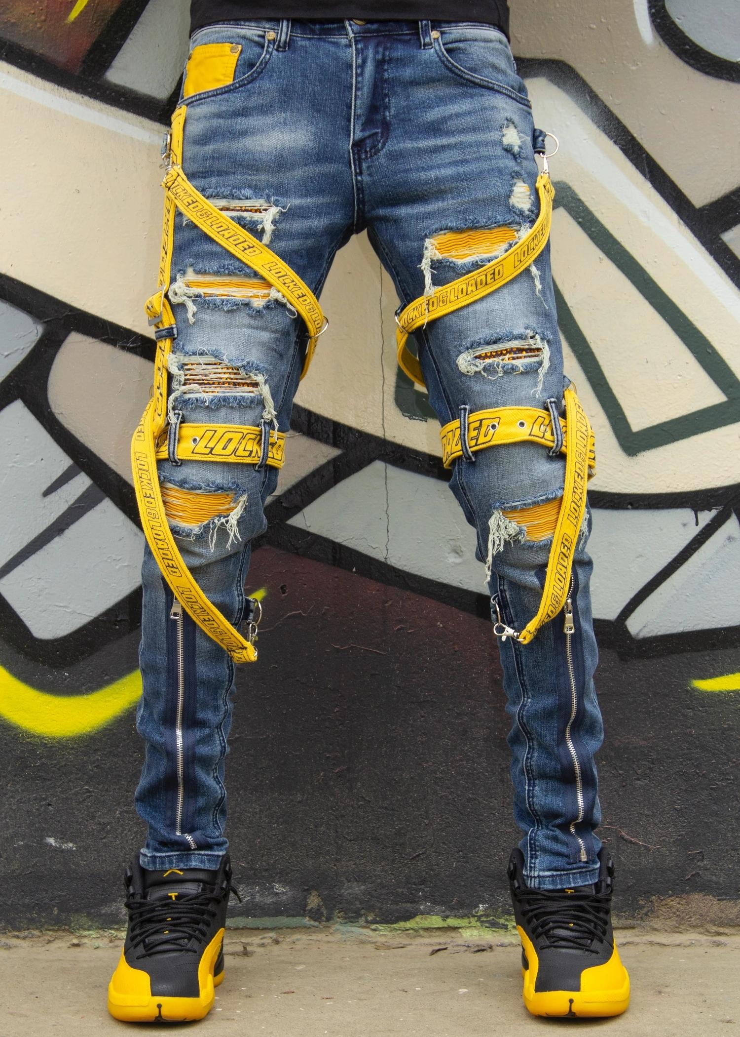 Locked and loaded jeans-belt and stone-blue and yellow-