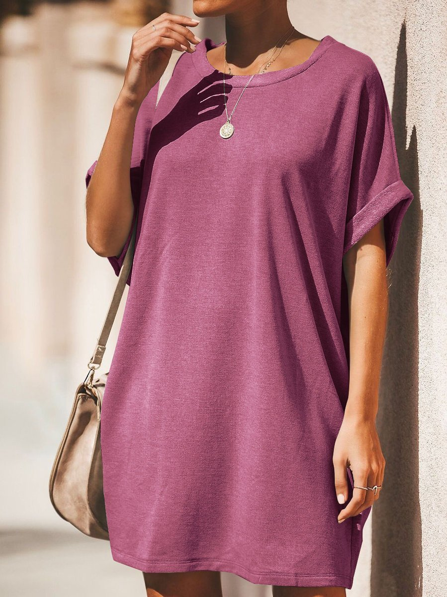 Women Shift Casual Short Sleeve Crew Neck Dresses