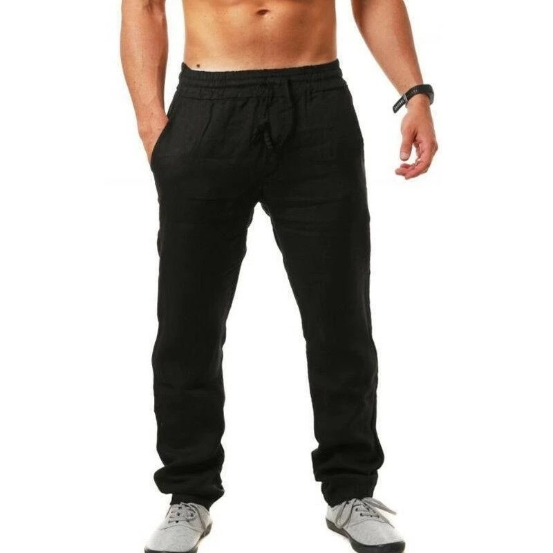Men's Linen Trousers Summer Bottoms Vacation Trousers Loose Trousers XS-3XL