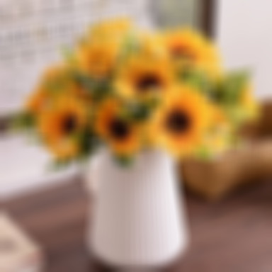 Artificial Flowers 1 Branch Pastoral Style Sunflowers Tabletop Flower