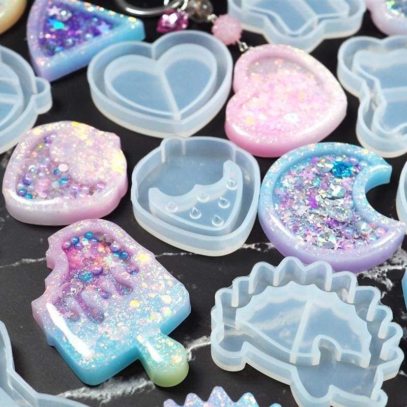 3pcs/set  Cute Key Chain Shaker Molds Jewelry Craft Molds Silicone Jewelry Accessories DIY Craft Molds