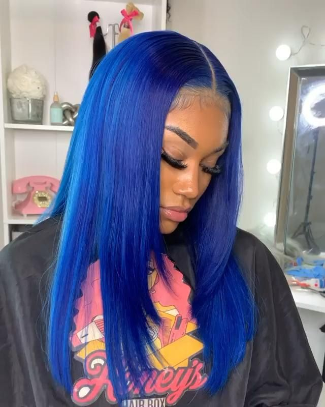 Blue Wigs Lace Frontal Wigs Cheap Human Wigs Smokey Blue Hair Color Marge Wig Blue Haired Lady