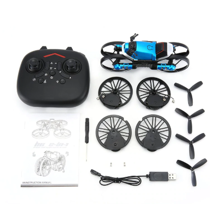 2-in-1 Motorcycle Folding Rc Drone With 2mp Camera Wifi Fpv Aerial Photography