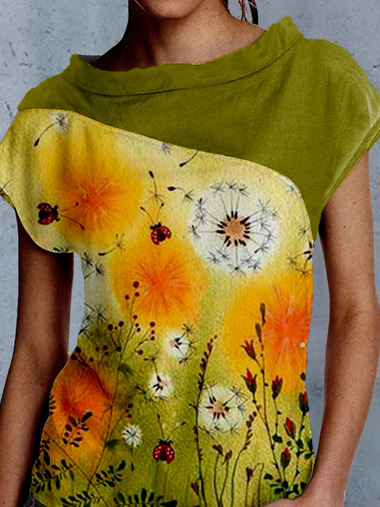 Printed Stitching Short-sleeved Top