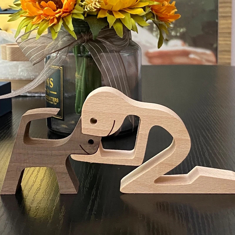 Puppy family wood carving ornaments crafts