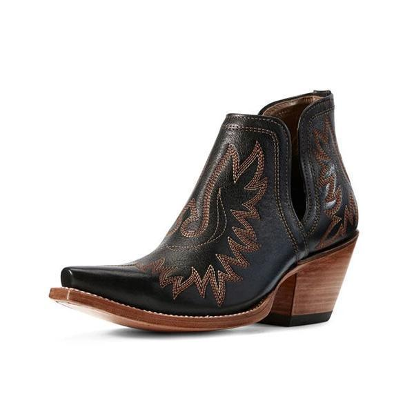 Zoeyootd Women's  Western Distressed Leather Boots